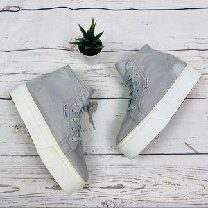 NEW! Superga Gray Hi Top Canvas Platform Sneaker